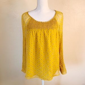 Sundance Boho Ruched Neck Mustard Yellow Top M